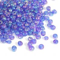 "100 gms. 6/0 Deep Blue AB Glass Seed Beads Round Rocailles   4mm( 1/8"") Dia, Hole: 1mm"